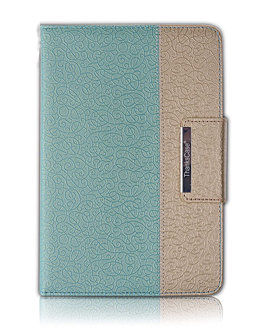 Samsung Galaxy Tab A 8.0 Case, Thankscase Rotating Case Cover for Tab A 8.0 2015 Release SM-P350/SM-T350 with Wallet and Pocket with Hand Strap with Smart Cover Function for Tab A 8.0 (Gold Jade)