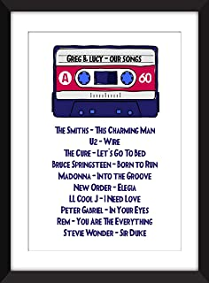 Personalised Mixtape - Unframed Cassette Print - Perfect Gift Idea