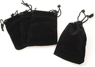 カラー 選べる 高級 ベロア 巾着 保存 袋 50枚 セット アクセサリー や 小物 に ジュエリー ポーチ ベルベット (ブラック)