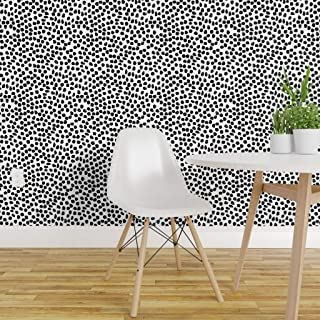 Spoonflower Pre-Pasted Removable Wallpaper, Ink Spots White/Black Polka Dot Black and White Spot Modern Nursery Decor Print, Water-Activated Wallpaper, 24in x 108in Roll