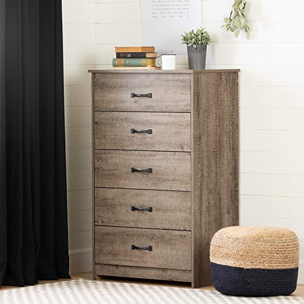 South Shore 12230 Tassio 5 Drawer Chest Weathered Oak