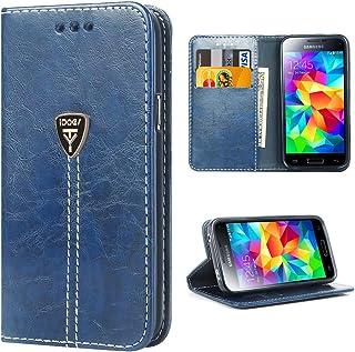 2433a64fe98 Galaxy S5 Funda con tapa libro piel y TPU cartera cover Funda de cuero  carcasa bumper