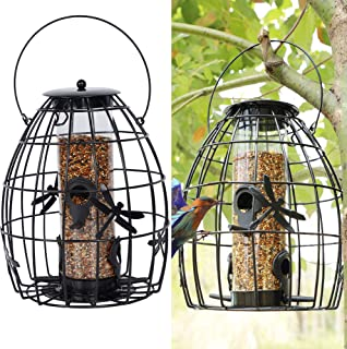 SAND MINE Caged Tube Feeder, Outdoor Bird Feeder, Hanging Squirrel Proof Wild Bird Feeder, Black