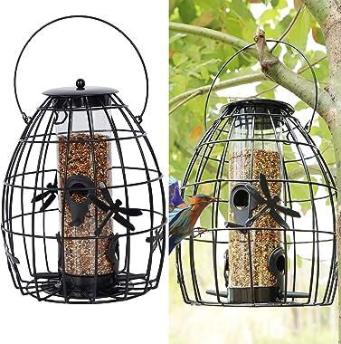 SAND MINE Wild Bird Feeder, Caged Tube Feeder, Outdoor Bird Feeder, Hanging Squirrel Proof Wild Bird Feeder, Black