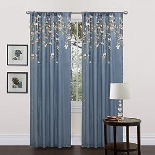 Lush Decor Flower Drop Curtain Panel, Blue