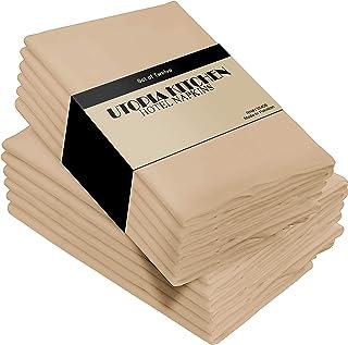 Utopia Kitchen Cloth Napkins, 12 Pack (18 x 18 Inches), Cotton Dinner Napkin (Beige)