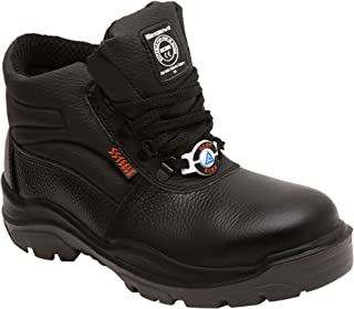 ACME Boxylic Genuine Leather High Ankle Black Safety Shoes for Men