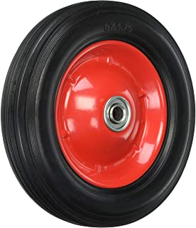 Shepherd Hardware 9636 8-Inch Semi-Pneumatic Rubber Tire, Steel Hub with Ball Bearings, Ribbed Tread, 1/2-Inch Bore Center...