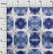 oneOone Cotton Poplin Twill Indigo Blue3 Fabric Geometric Shibori Quilting Supplies Print Sewing Fabric by The Meter 56 In...