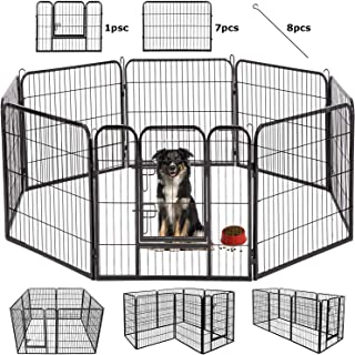 BestPet Dog Pen Extra Large Indoor Outdoor Dog Fence Playpen Heavy Duty 16/8 Panels 24 32 40 Inches Exercise Pen Dog Crate Cage Kennel