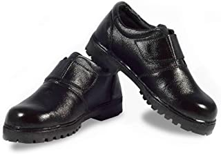 RIGAU Women's Genuine Black Leather Steel Toe Safety Shoes
