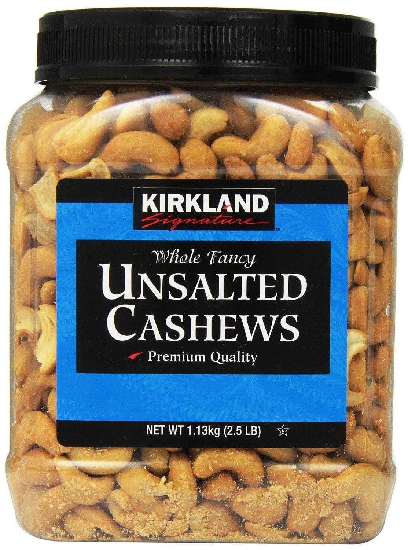Kirkland Signature Unsalted Cashews 2.5 Large-scale sale Lb SE - 1count Pack Wholesale 2