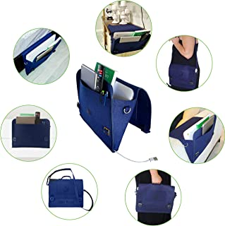 Deja Royal Multipurpose Convenient Designed Hanging Storage Organizer – Computer Bag - Book Bag – Spacious Capacity Bedside Caddy – Space Saver Bed Pocket – Easy to Install - 4 (Navy Blue)