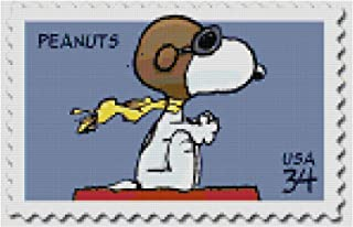 Boston Needleworks & Scrapbooking Peanuts Snoopy Flying Ace Postage Stamp Counted Cross Stitch Pattern