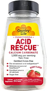 Country Life Acid Rescue Chewable Tablets, 90g Digestive Aid & Enzymes for Heartburn Relief, Acid Reducer with Magnesium &...