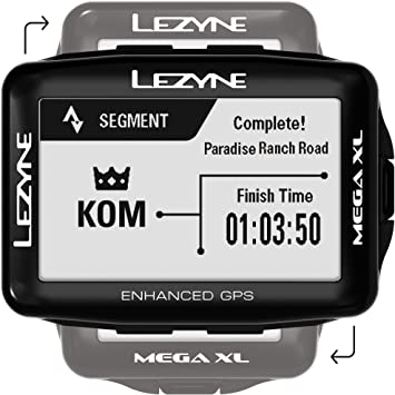 LEZYNE Mega XL - Ordenador GPS para bicicleta, 48H de tiempo de ejecución, recargable por USB, ANT+ y Bluetooth Smart, sistema GPS de ciclismo