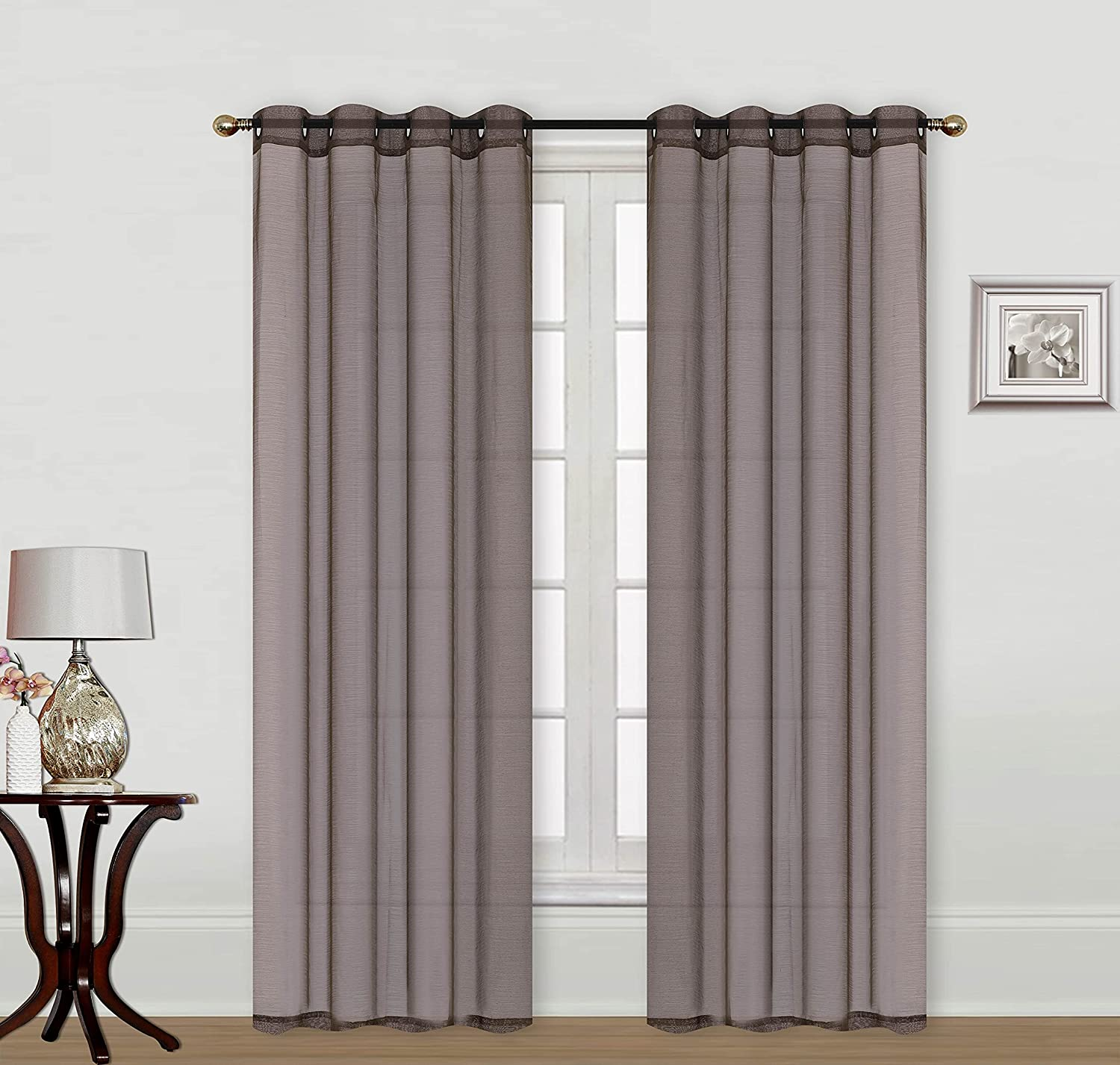 2pc Grommet Top Voile Textured Sheer Window Set Panel Attention brand Tr Curtain Max 78% OFF