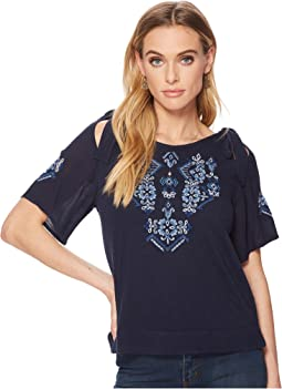Lucky Brand - Embroidered Tie Shoulder Top