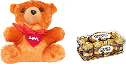 Ferrero Rocher Valentine Gift Combo with Rocher Chocolate 200 g (Pack of 16 Pieces) and A Beautiful Teddy