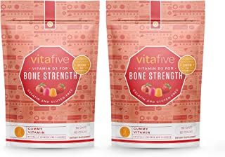 Vitafive Healthy Bone Strength Vitamin D3 2000 IU Gummy Vitamins (2 Pack) Natural Flavors, Vegetarian, Glut...