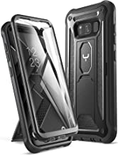 YOUMAKER Kickstand Case for Galaxy S8, Full Body with Built-in Screen Protector Heavy Duty Protection Shockproof Rugged Cover for Samsung Galaxy S8 5.6 inch - Black/Black
