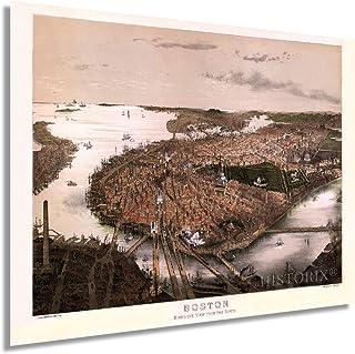 Historix 1877 Boston Bird's-Eye View from The North 24x32 Inch