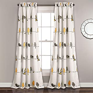 "Lush Decor Rowley Birds Room Darkening Window Curtains Panel Set for Living Room, Dining Room, Bedroom (Pair), 84"" x 52"", Yellow and Gray"