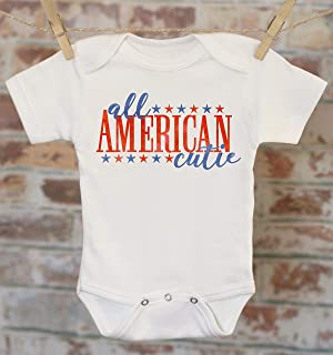 ef511c1ef All American Cutie Onesie, Patriotic Baby Clothes, Merica Outfit, Memorial  Day Outfit,