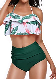 5c41eac6576f0 Heat Move Women Retro Flounce High Waisted Bikini Halter Neck Two Piece  Swimsuit
