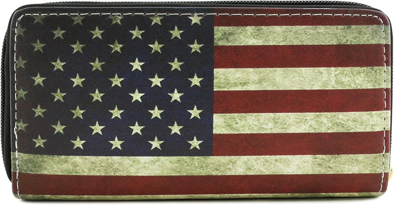 Zip Around Vintage American Flag Print Wallet