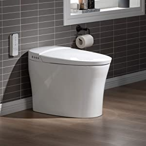 WOODBRIDGE B0970S Smart Bidet Toilet Elongated One Piece Modern Design, Automatic Flushing, Heated Seat with Integrated Multi Function Remote Control, White