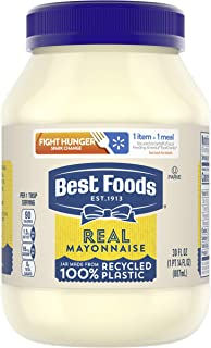 Best Foods Real Mayonnaise For a Creamy Condiment for Sandwiches and Simple Meals Real Mayo Gluten Free, Made With 100% Ca...