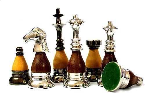StonKraft Pièces d'échecs avec Une Hauteur de Roi de 9 cm (3,5 Pouces) - Jeu d'échecs en cuivre et Bois de Style Collection