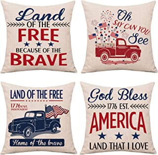 Whaline 4th of July Pillow Cover Independence Day Cushion Case American Pillow Shams Patriotic Throw Pillowslip Text & Tru...