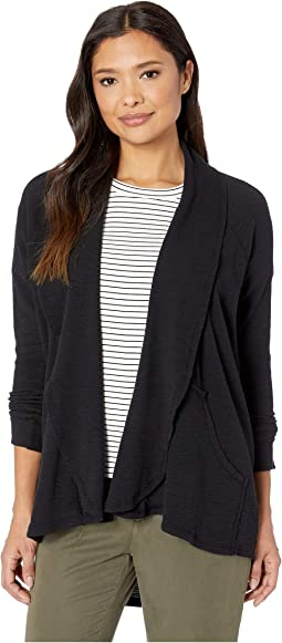 Textured Slub Stripe Raglan Sleeve Kangaroo Pocket Cardigan