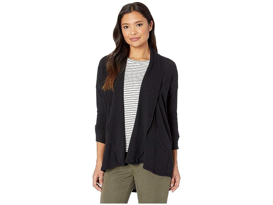 Mod-o-doc Textured Slub Stripe Raglan Sleeve Kangaroo Pocket Cardigan (Black) Women