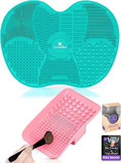 ExSoullent Makeup Brush Cleaner Mat - Set of 2 Silicone Portable Brush Cleaning Pads with Strong Suction Cups and Hand Strap, Perfect Gift for Her + eBook (Teal Blue & Pink)