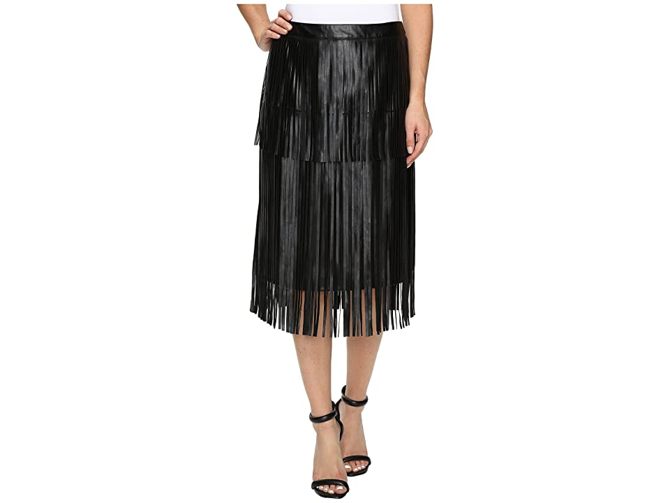 Vince Camuto Pleather Fringe Tiered Skirt (Rich Black) Women