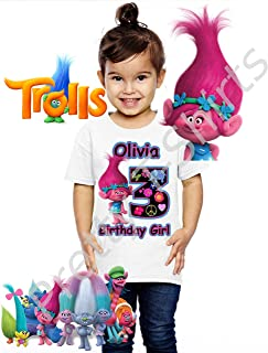 Trolls Birthday Shirt, Add Any Name and Any Age, Birthday Girl Shirt, Family Matching Shirts, Girl Trolls, Trolls Shirts, Girl Shirts, Girl's Birthday Party, Visit Our Shop
