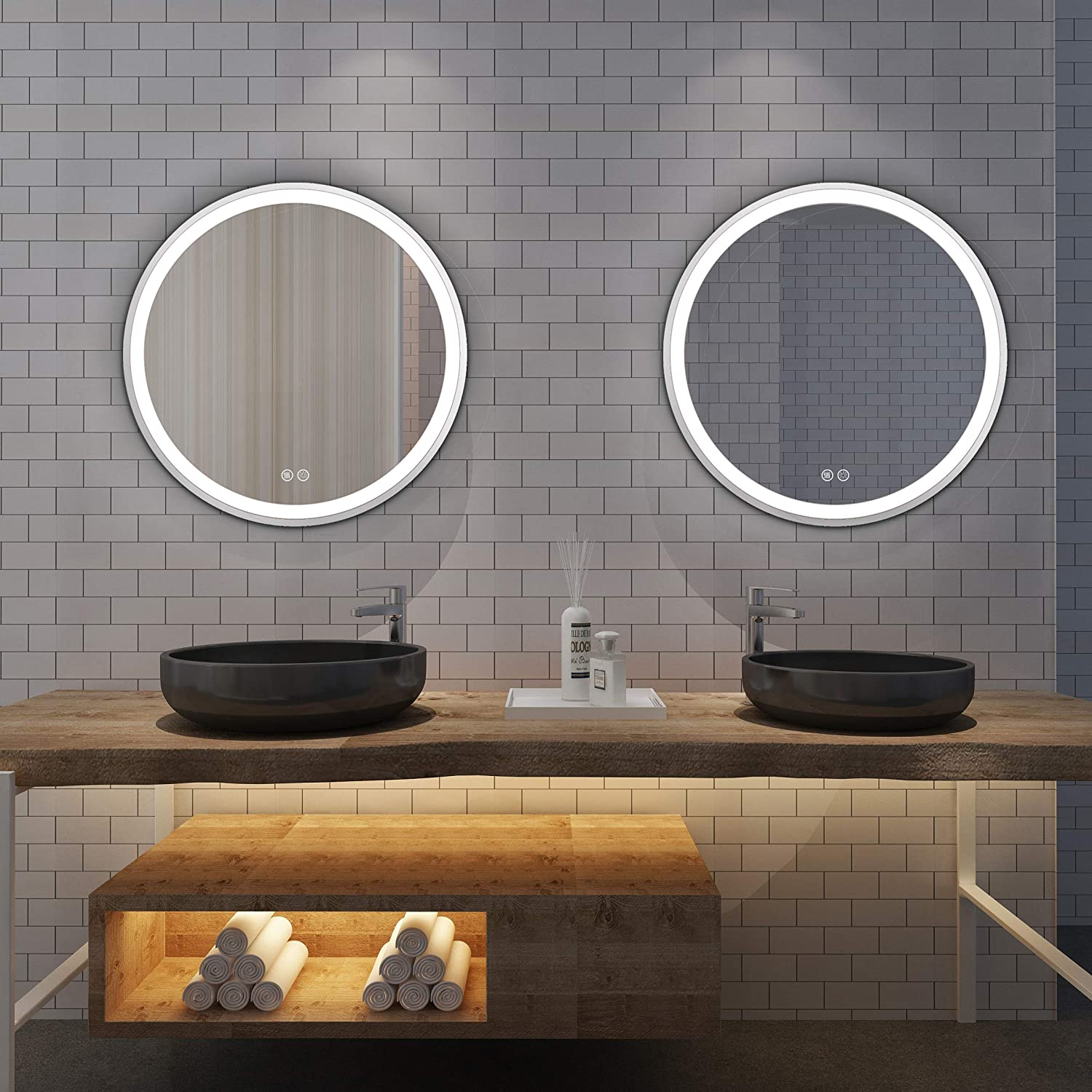 Buy Istripmf Led Bathroom Mirror 24 Inch Round Bathroom Vanity Mirror Anti Fog Backlit Mirror Circle With Dimmable Memory Touch Button 3 Color Adjustable Lighted Bathroom Mirror Silver Framed Online In Taiwan B08dhql94v