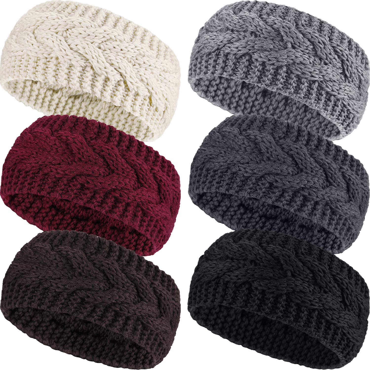 Pangda 6 Pieces Winter Headbands Women's Cable Knitted Headbands, Winter Chunky Ear Warmers Suitable for Daily Wear and Sport (Assorted Color Twist Style)