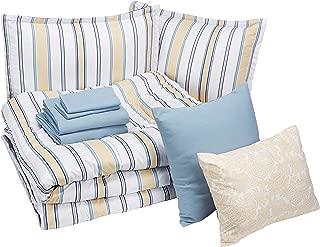 AmazonBasics 10-Piece Comfoter Bedding Set, King, Blue and Tan Stripe, Microfiber, Ultra-Soft