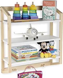 Wallniture Utah White Bookshelf for Kids and Nursery Room Decor, 3-Tier Wood Wall Shelf with Hooks for Hanging Coats and Bags