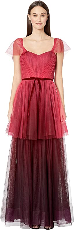 26e2a13e Luxury. Red. 10. Marchesa Notte. Off the Shoulder Ombre Tull Tiered Gown