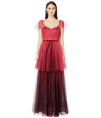 Marchesa Notte Off the Shoulder Ombre Tull Tiered Gown (Red) Women