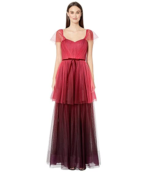 Marchesa Notte Off the Shoulder Ombre Tull Tiered Gown