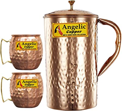Angelic Copper Handmade Jug with Cups, Brown