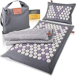 High Pulse® Eco akupresura zestaw wraz z torbą + plakatem – mata do akupresury i poduszka z magnesami z naturalnych włókie...