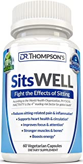 SitsWELL - Fight The Bad Effects of Sitting and Live Longer | Weight Loss - Focus - Immune System Booster - Back Pain Relief - Leg Ankle Swelling | Green Tea Turmeric Ginseng Ginkgo Berberine & More