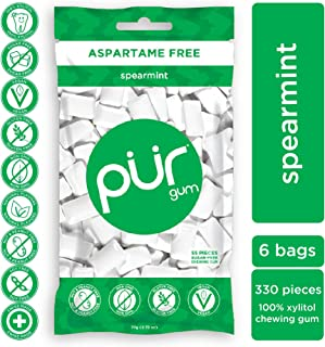 PUR 100% Xylitol Chewing Gum, Spearmint, Sugar-Free + Aspartame Free, Vegan + non GMO, 55 Count (Pack of 6)
